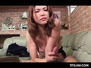Double-dealing jap redhead nigh big boobs blowing loaded load of shit with lust