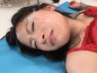 Busty asian slut getting face jizz covered