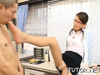 Charming teacher flexuosities down to shows off the brush large breakage