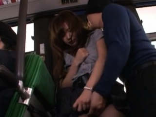 Helpless gal gets her snatch felt on every side by lewd passenger