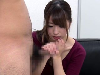 Non-restricted CFNM japanese blowjob with messy cumshot