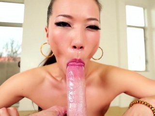 Pov asian slut throats