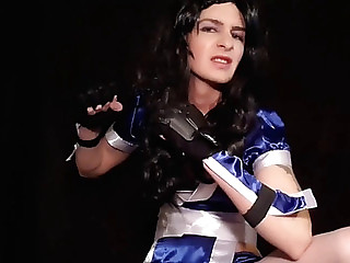 White sissy cd nerd showing knob in oriental cosplay
