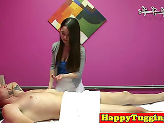 Breasty asian masseuse receives teamfucked by client