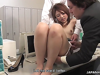 Office worker rino mizusawa is toyed and fed with cum