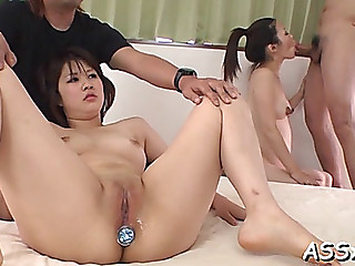 Banging and toying oriental babe's anal